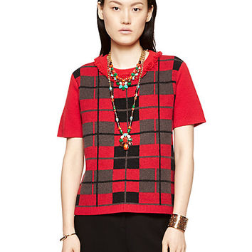 Kate Spade Mohair Plaid Fringe Sweater Scarlet