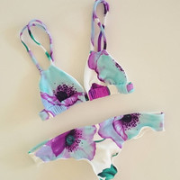 Floral Flower Pattern Print Bikini Set Swimsuit Swimwear