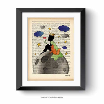Little prince print-little prince dictionary print-fairy tale print-children wall art-nursery print-baby shower-fox print-Natura Picta-DP174