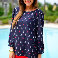 Come Sail Away Blouse, Navy