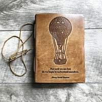 """""""Until We Are Lost"""" Handmade Blonde Leather Journal"""