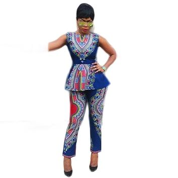 Two pieces set african printing jumpsuit playsuit sexy Tshirt vest+pants 2 pieces suit vintage outfit casual women clothing