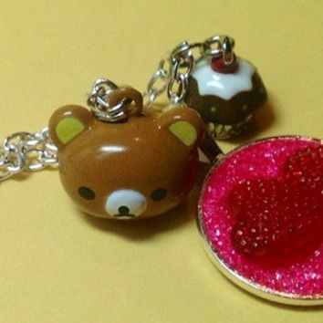 Rilakkuma Brown Teddy Bear Sparkle Candy Hearts Cupcake Necklace