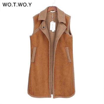 Women Winter Waistcoat Sleeveless Coat Fleece Vests Jacket Female Outerwear