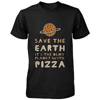 Save the Earth Only Planet with Pizza Funny Men's Shirt Earth Day T-Shirt