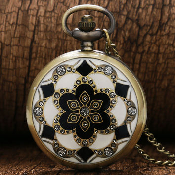 2017 Luxury Fashion Vintage Elegant Ceramics Flowers Antique Quartz Pocket Watch Necklace Pendant Clock For men and women gift