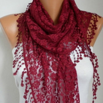 BIG SALE Burgundy Lace Scarf -  Shawl Scarf Women Scarves Cowl Scarf Bridesmaid Gift - fatwoman