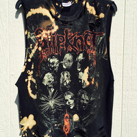 Slipknot // medium// t shirt// grunge// cut off // band shirt // concert shirt // rock // cropped tee//distressed rock shirt// bleached