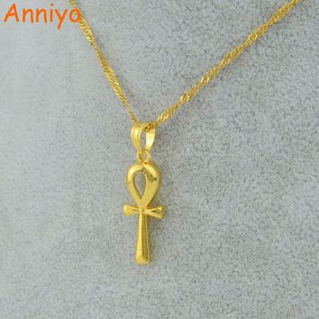 CREYCI7 Anniyo Egyptian Ankh Cross Pendant Necklace Chain Woman,Gold Color Charms Jewelry Girls Egypt Hieroglyphs,Crux Ansata #057006
