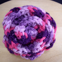Rose Brooch in  Purples and Pinks variegated yarn
