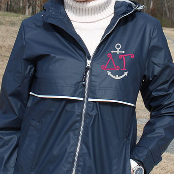 Greek Navy Rain Jacket with Sorority & Anchor Personalized Hood and Left Chest