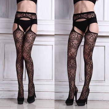 Womens Stockings Sexy Lingerie Net Lace Flower Garter High Waist Siamese Suspenders Stockings Thigh Pantyhose #2415