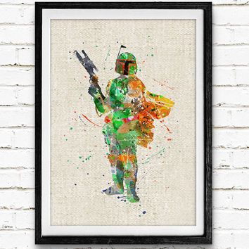 Bounty Hunter Watercolor Print, Star Wars Baby Boy Nursery Decor, Wall Art, Home Decor, Gift Idea, Not Framed, Buy 2 Get 1 Free!