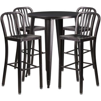 30'' Round Black-Antique Gold Metal Indoor-Outdoor Bar Table Set with 4 Vertical Slat Back Stools [CH-51090BH-4-30VRT-BQ-GG]
