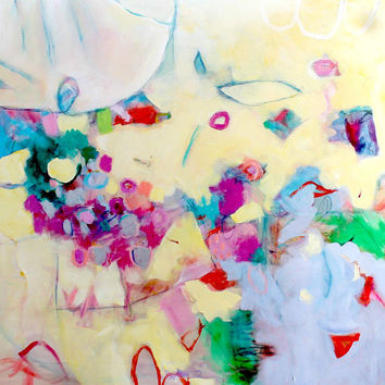 """Colorful Abstract Painting Expressionist Large Canvas """"July Stroll"""" 36x36"""