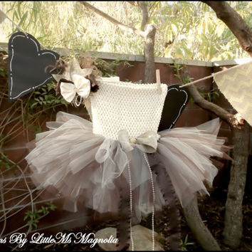 "Ivory and Brown  Crochet Top Tutu and Headband Set "" Autumn Sunshine"" For Girls, Infants and Toddlers"