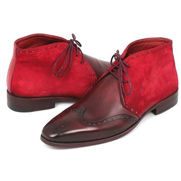 Paul Parkman Chukkas in Bordeaux Suede & Leather