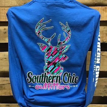 Southern Chics Deer Pattern Country Girlie Bright Long Sleeve T Shirt