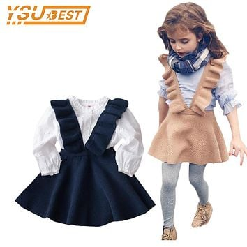 2017 Autumn Lovely Girls Outerwear Knitting Coats Baby Girls Knitting Vest Dresses Brand Casual Kids Costume Girls Sweater