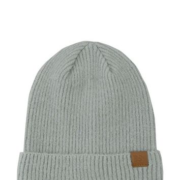 Ribbed Knit Beanie in Grey
