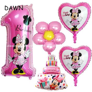 5pcs/lot mickey minnie mouse baby shower girl boy first birthday 1st foil balloon Globos Supplies number 1 globos classic toy