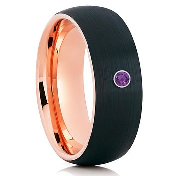 Amethyst Tungsten Ring - Rose Gold - Tungsten Wedding Band - Black