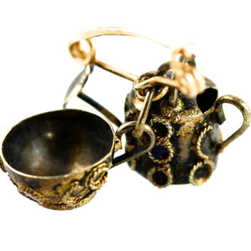 Sterling Silver Teapot Watering Can & Cup Charm Pin
