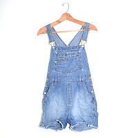 Denim Short Overalls Bib Overalls 90s Grunge Overalls Denim Shorts Overalls Blue Denim Bib Overalls Shortalls Size Juniors Medium 7/9