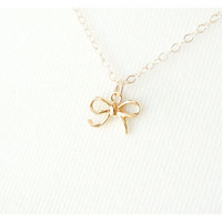 Tiny Vermeil Bow Necklace