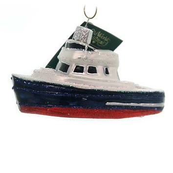 Old World Christmas CHARTER BOAT Glass Ornament Excursion Fishing 46078