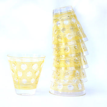 VTG Mid Century Modern Cocktail Old Fashioned Juice Cups | Georges Briard Style Yellow Art Deco Pattern | Set of Six 6 1970s Retro Kitchen