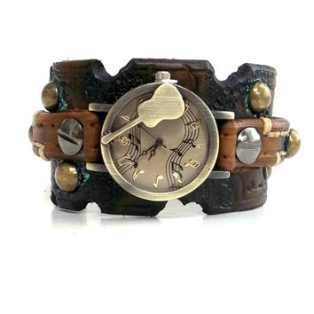 Distressed Watch, Womens Watch, Wrist Watch, Leather Watch, Bracelet Watch, Guitar Watch, Music Watch Cuff