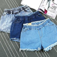 Vintage Ripped Jean Denim Shorts Elastic Waist