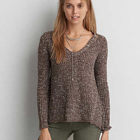 AEO V-Neck Waffle Sweater, Brown