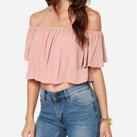 Light Pink Elastic Off-Shoulder Chiffon Crop Top