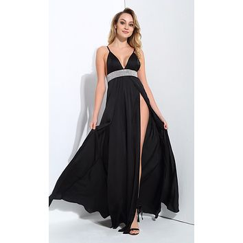 Working My Magic Black Rhinestone Sleeveless Spaghetti Strap V Neck Double Split Maxi Dress