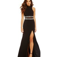 B. Darlin High Mock Neckline Cut Out Illusion Waist Gown | Dillards