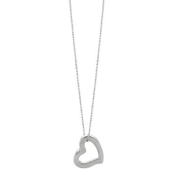 14K White Gold Heart Shaped Tube Pendant On 18 Inch Necklace