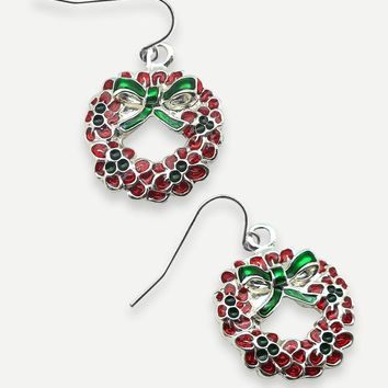 Christmas Wreath Drop Earrings 2pcs