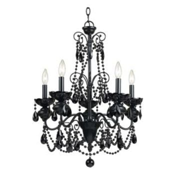 "AF Lighting 7506-5H Black Glass Beads And Crystals Elements Series ""Mischief"" Five-Light Chandelier"
