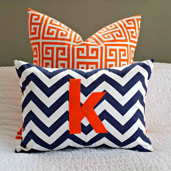 Chevron Monogrammed Pillow Cover - Navy and White Chevron with Orange Monogram - Toddler Pillow - 12 x 16