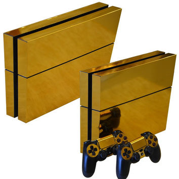 10 Type PS4 Sticker Gold Skin PS4 Console Controller Sticker Set Protective Skins For Sony Playstation 4 PS4 Console+Controllers