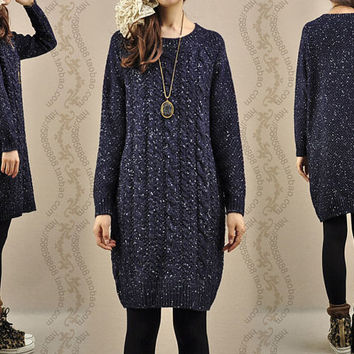 Sweater dress knitwear cotton sweater tops large knitted sweater coat casual loose sweater blouse plus size sweater cotton blouse -Dark blue