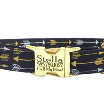 "1"" Wide Only- Personalized Laser Engraved Gold Shot Blast Metal Buckle Tribal Southwest Arrows Dog Collar- 2-3 Week Ship Time"
