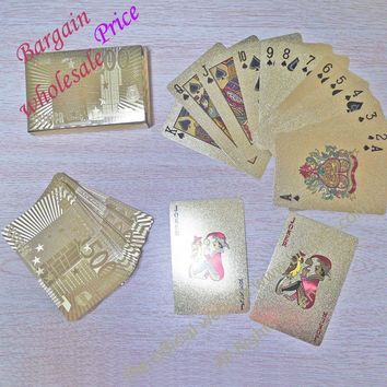 Certified Pure 24 K Carat Novelty Gold Foil Plated Poker Playing Cards w 52 Cards & 2 Jokers Gift Table Games