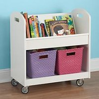 Kids Book Storage: White Kids Rolling Book Storage Shelf and Bin in Bookcases | The Land of Nod