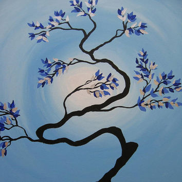 zen tree painting with sun moon bonsai silver pale blue white black dark light tree of life oriental Japanese asian look