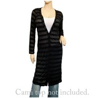 Plus Size Long Cardigan Black Stripe Print