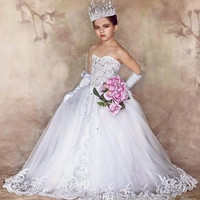 Princess Flower Girl Dresses for Weddings With Bow Train First Communion Dress Off The Shoulder Sweetheart Girl Pageant Gowns