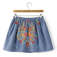 jupe jeans Causal Summer short Mini Women Embroidered Denim Skirt saia feminina SYJZ0682